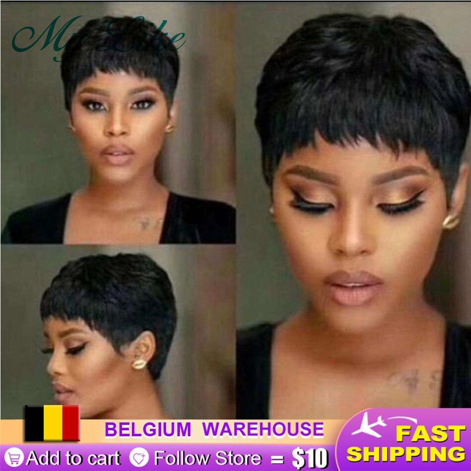 Short-Wigs Pixie-Cut Black Full-Machine Straight Women Cheap Brazilian
