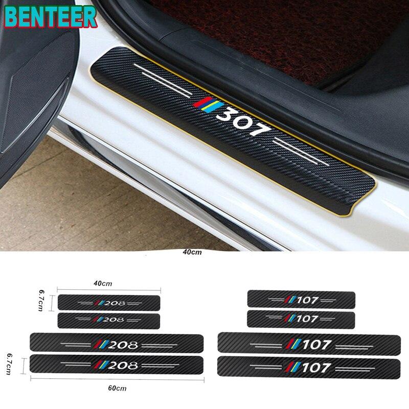 4 шт. Новые защитные наклейки из углеродного волокна на дверные пороги для Peugeot 106 107 108 206 207 208 306 307 308 407 508 2008 3008