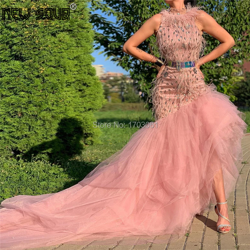 Feathers Beading Formal Evening Dresses Robe De Soiree 2019 New Fashion Crystal Prom Dress For Dubai Arabic Party Gowns Kaftans