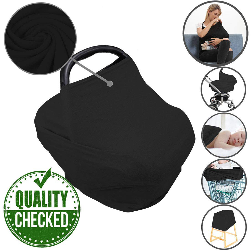 Car Seat Nursing Breastfeeding Cover, Thick Cozy Jersey Carseat Canopy Cover, Stroller Cover For Infant Babies, Multi Use Cover