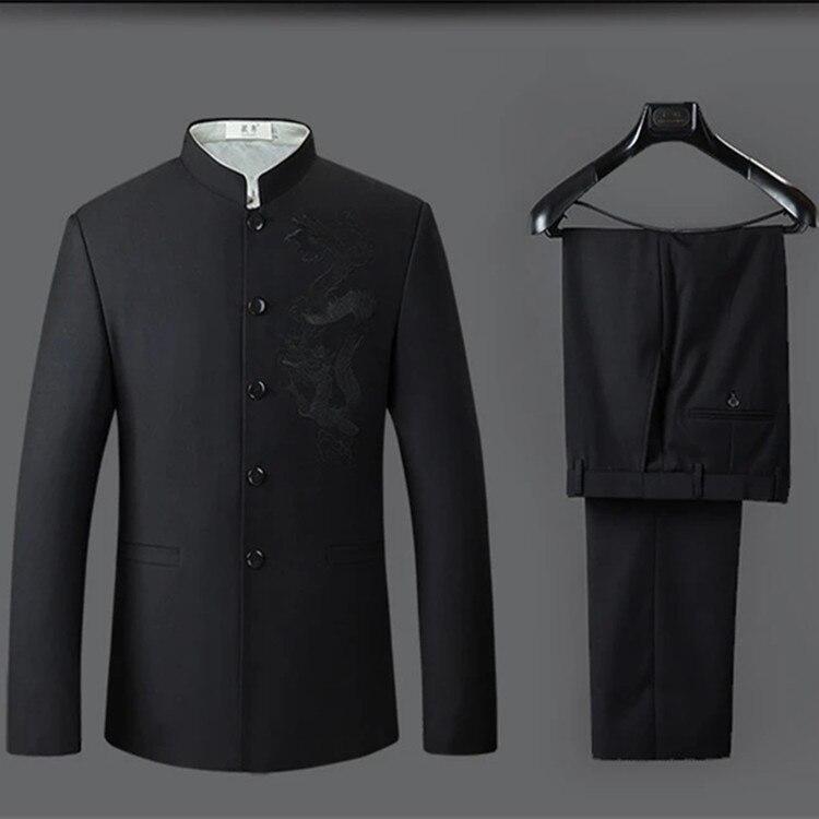 3-Suit Men Suit Sun Yat-sen Costume Korean-style Customed Working Suit Chinese-style Wedding Chinese Clothing Graduation Photo S