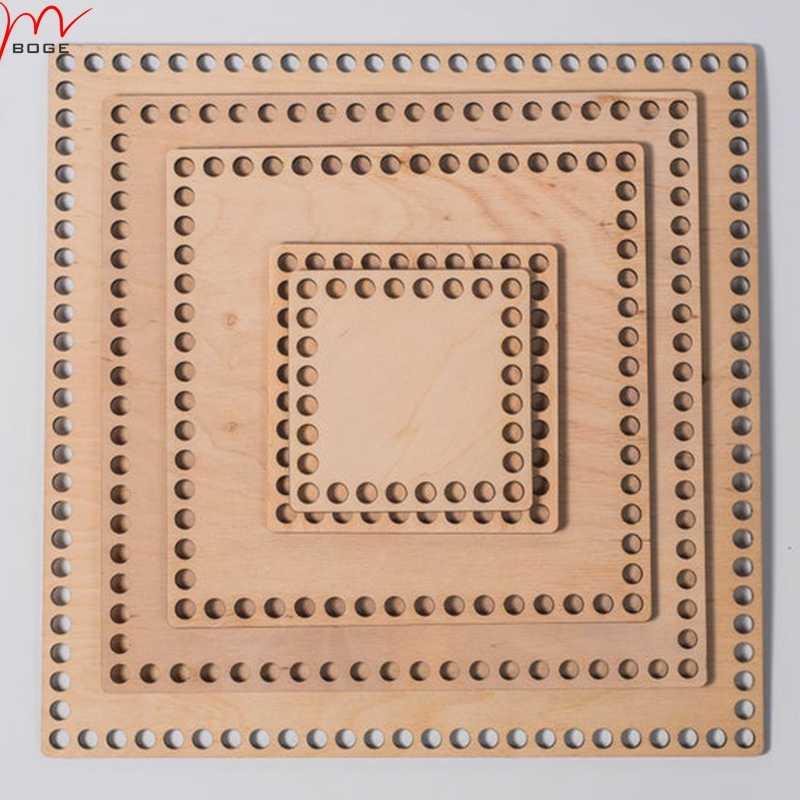 Cesta De Crochet De Madera Base inferior rectángulo 20cm X 25 Cm