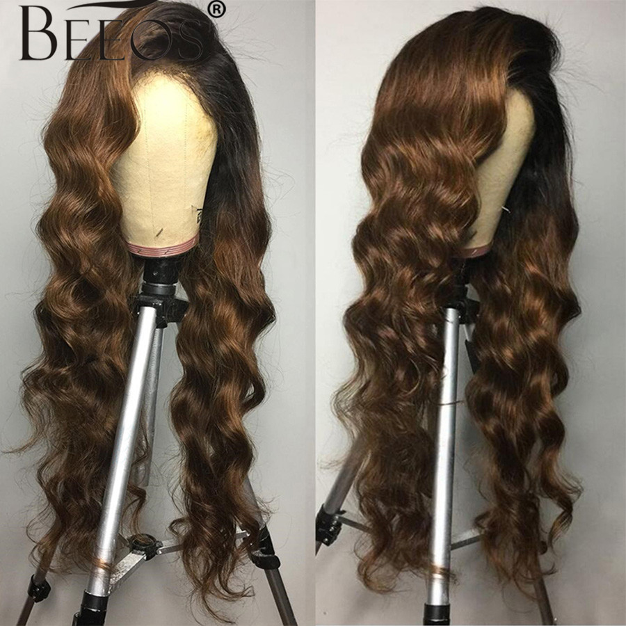 13*6 Deep Part Lace Front Human Hair Wigs Body Wave Ombre Brown Color Hair Brazilian Remy Hair Wigs Pre Plucked Bleached Knots