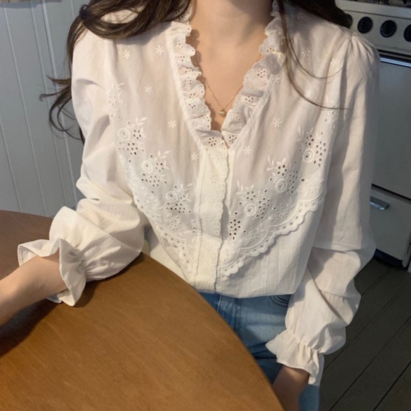 Простая Однотонная рубашка блузки Осень зима новый стиль привидение