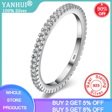 YANHUI 925 Solid Silver Round Finger Ring Band With Full Circle Small Zirconia Diamond Wome