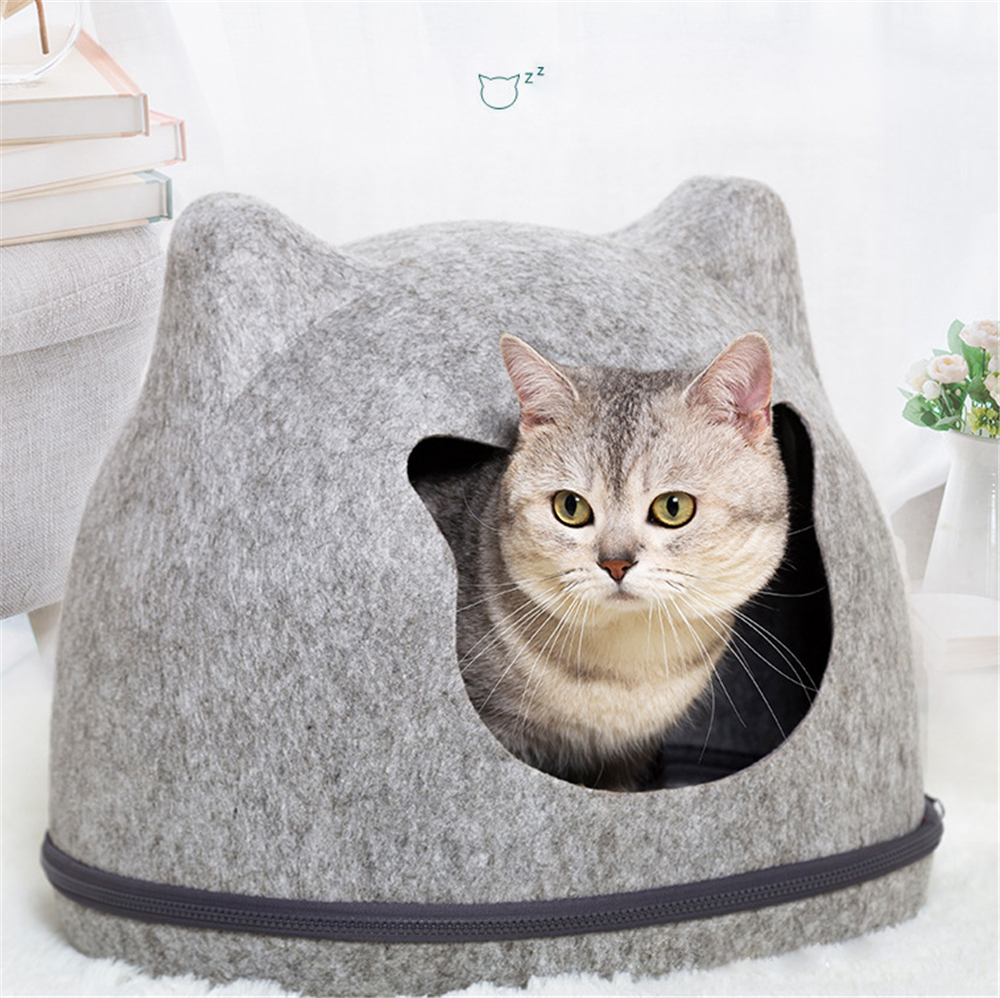 Maison de chat détachable feutre-tissu grotte panier chaud chats nid coussin tapis de couchage avec fermeture éclair chat-tente lavable