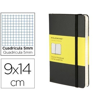 MOLESKINE notebook hard cover picture 5 MM 192 sheets black COLOR closure with rubber 90X140 MM