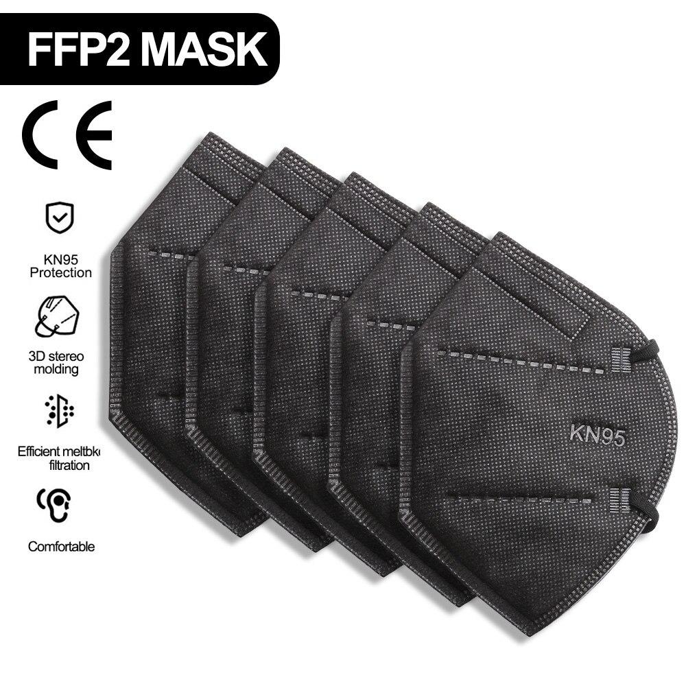 CE Black kn95 protective masksmasks ffp2 reutilizable mondkapjes Facial masks cotton mascherine mase