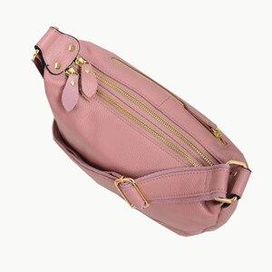 Image 2 - 정품 가죽 가방 여성 디자이너 핑크 어깨 메신저 가방 크로스 바디 고품질 소프트 진짜 가죽 핸드백 여자 가방