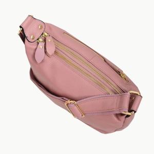 Image 2 - Echtes Leder Tasche Frauen Designer Rosa Schulter Messenger Tasche Kreuz körper Hohe Qualität Weiche Echt Leder Handtasche Frau Taschen