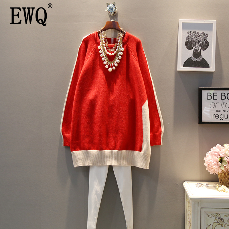 [EWQ] 2020 Spring Autumn New Pattern Style Large Size Pleated Slim Fit Full Sleeve Round Collar Pullovers Sweater AF751