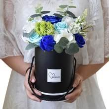 Eenvoudige Gift Dozen Boeket Bloem Handheld Doos Verpakking Deksel Wedding Candy Ronde Desktop Papier Geschenkdoos Opslag Thuis Wit n8V9
