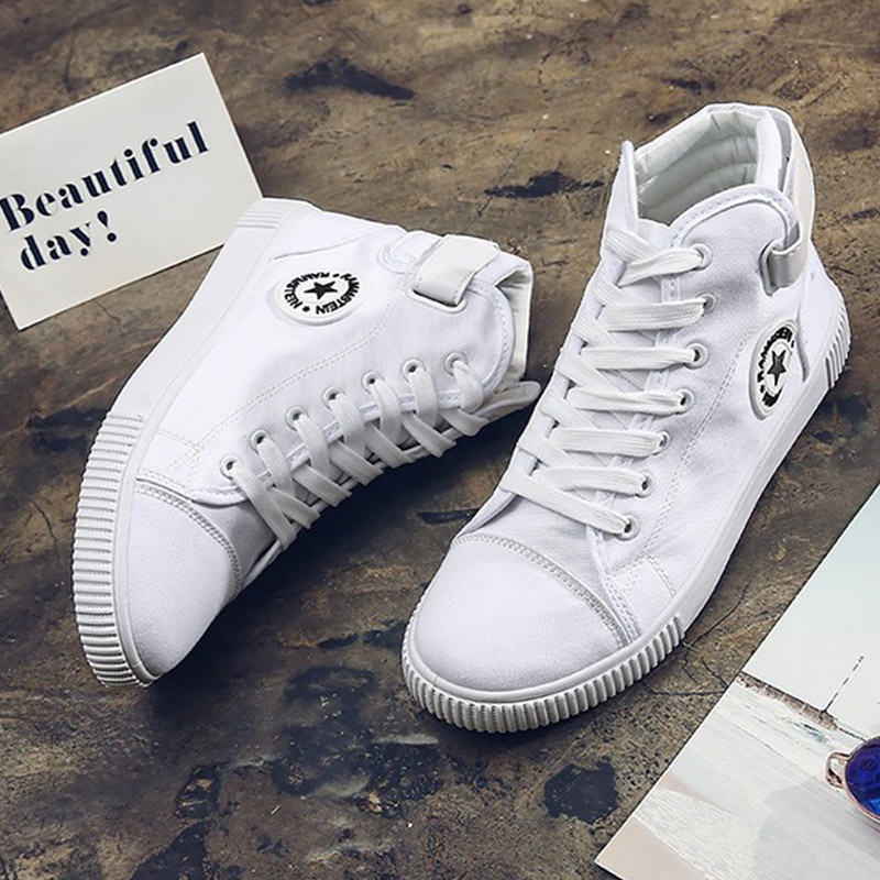 Men's Shoes Canvas Sneakers High Top White Shoes Man Classic Nonslip Wear Resistant Casual Comforttable Male Footwear
