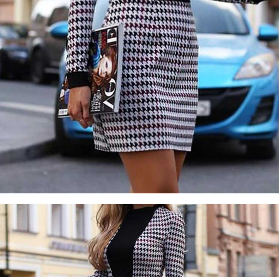 Women's Vintage  Sexy Long Sleeve Short Houndstooth Dress