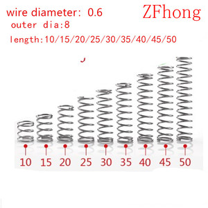 20pcs 0.6*8*L wire diameter 0.6mm OD 8mm Stainless Steel Micro Small Compression spring length 10mm-50mm