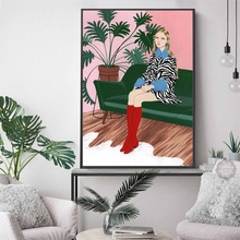 Fashion Vogue Woman Girl Vintage Abstract Wall Art Print Canvas Painting Nordic Posters And Prints Pictures For Living Room