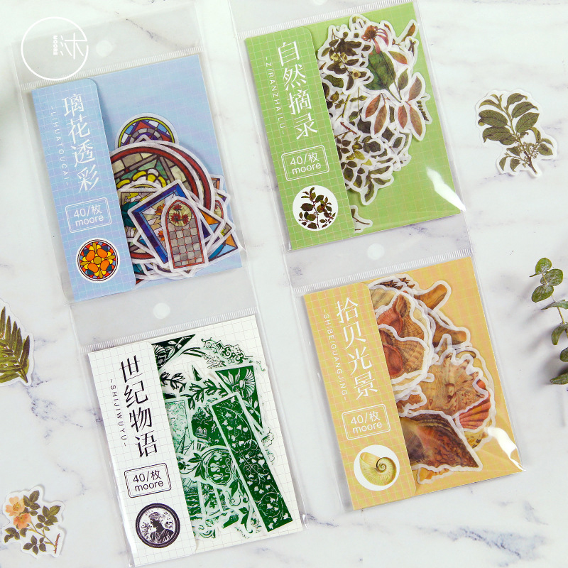 Vintage Plant Sticker Scrapbooking Kawaii DIY Diary Bullet Journal Decorative Adhesive Paper Seal Label Stationery Supplies