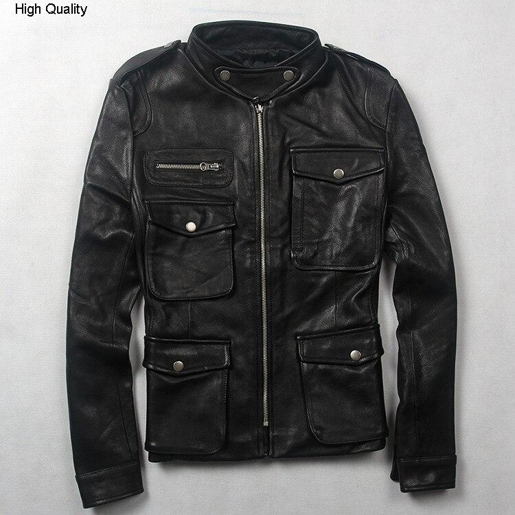 Women's Fashion M65 Leather Jacket With Pockets Black Sheepskin Genuine Leather Coat Women Slim Fit Motorcycle Jacket Lady