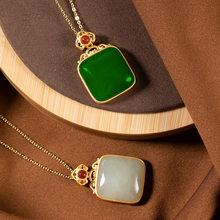 Natural hetian jade retro pingente colar 925 prata moda jóias chalcedônia amuleto presentes para mulher