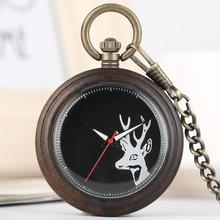 Buy Natural Wood Pocket Watch Quartz Analog Open Face Pendent Watch Natural Wooden Chain Clock Gift for Men Women Friends reloj bols directly from merchant!