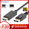 Navceker DP to HDMI Cable 4K 60Hz DP HDMI Adapter DisplayPort Display Port Male to Male Converter for MacBook Air Dell Monitor