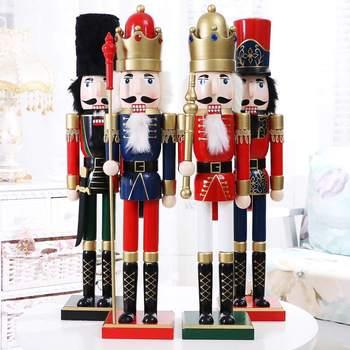 Soldado Cascanueces de 60CM adornos de decoración para el hogar, figurita de madera artesanal, marioneta de nogal, juguete, regalos de Año Nuevo