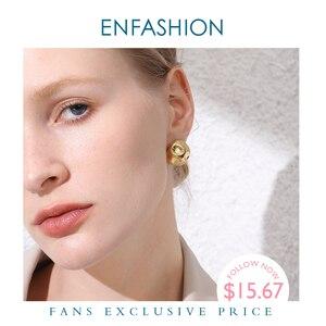 Image 1 - ENFASHION Punk Fußball Hoop Ohrringe Für Frauen Gold Farbe Kleine Kreis Ball Geschmolzenen Hoops Ohrringe Modeschmuck Aros E191103
