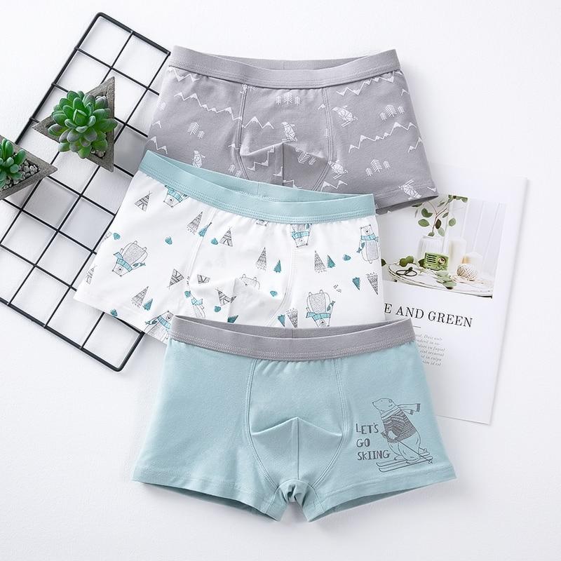 Children's Underwear Baby Cotton Briefs Cartoon Print Underpants 6 8 10 12 14 Years Striped Toddler Panties Boys Briefs 3pcslot 1