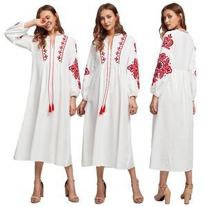 Image 1 - סגנון אתני מוסלמי נשים ארוך שרוול מקסי שמלת רקמה העבאיה ערבית קוקטייל שרוך בציר שמלת אוקראיני Vyshyvanka