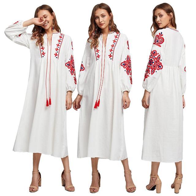 סגנון אתני מוסלמי נשים ארוך שרוול מקסי שמלת רקמה העבאיה ערבית קוקטייל שרוך בציר שמלת אוקראיני Vyshyvanka