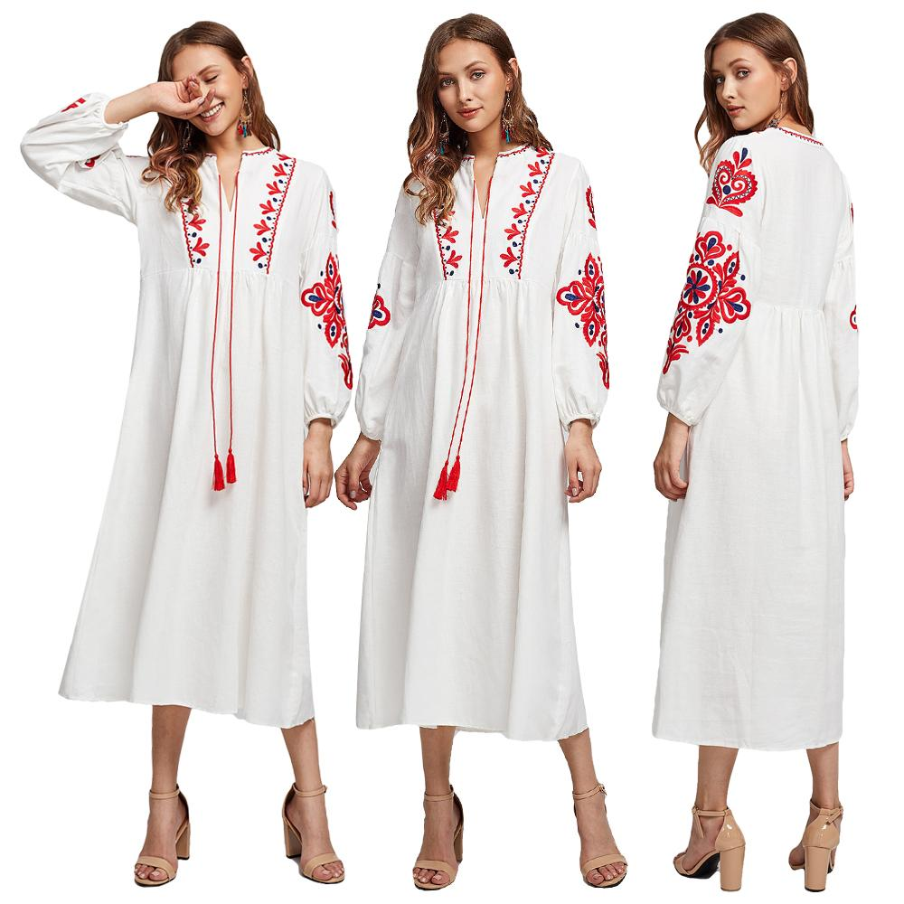 Ethnic Style Muslim Women Long Sleeve Maxi Dress Embroidery Arab Abaya Cocktail Drawstring Vintage Dress Ukrainian Vyshyvanka