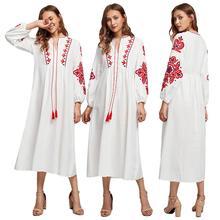 Ethnische Stil Muslimischen Frauen Langarm Maxi Kleid Stickerei Arab Abaya Cocktail Kordelzug Vintage Kleid Ukrainischen Vyshyvanka