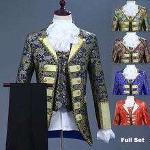 Роскошный костюм в викторианском стиле для взрослых мужчин; Топ; жилет; куртка; пиджак; костюм для сцены; Театральный Костюм; костюм для косплея; брюки; жабо; галстук