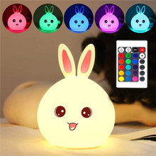 Silicone Rabbit LED NightLight Cartoon Animal Bunny Night Lamp  Touch Sensor Table Lampen Decor Bedroom Baby Kids Christmas Gift ins hot h80cm rabbit children led dimmable bedside table lamp led nijntje rabbit baby kids bedroom decor lampen