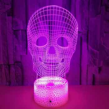 Halloween Decor Skull Night lamp 3D Night Light Led 7Color For Bar Friend Party Kids Toy Gifts Bedroom Decor New