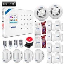 متخصصة KERUI WIFI GSM جهاز إنذار ضد السرقة PIR كاشف حركة مستشعر الباب كشاف جهاز الإنذار إنذار