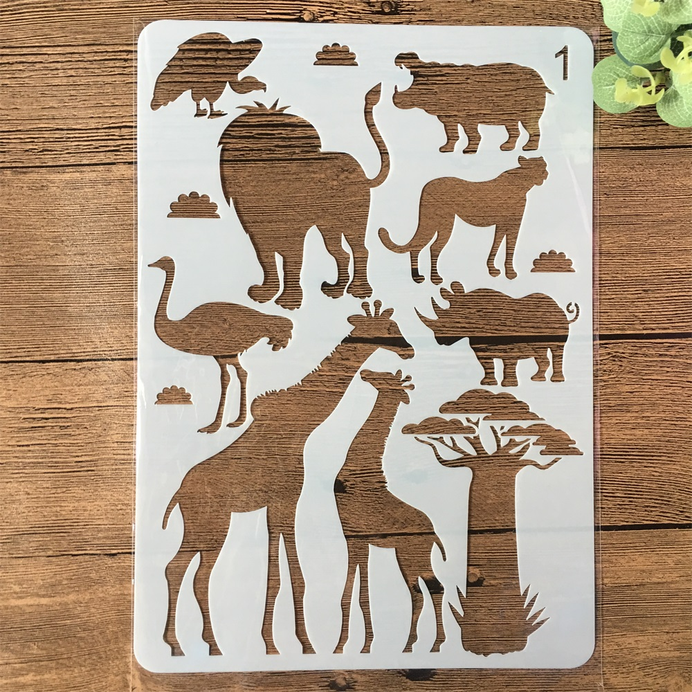 A4 Lion Animals Giraffe DIY Craft Layering Stencils Painting Scrapbooking Stamping Embossing Album Paper Card Template