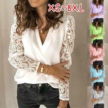 Женская кружевная блузка с цветочным принтом Повседневная ажурная