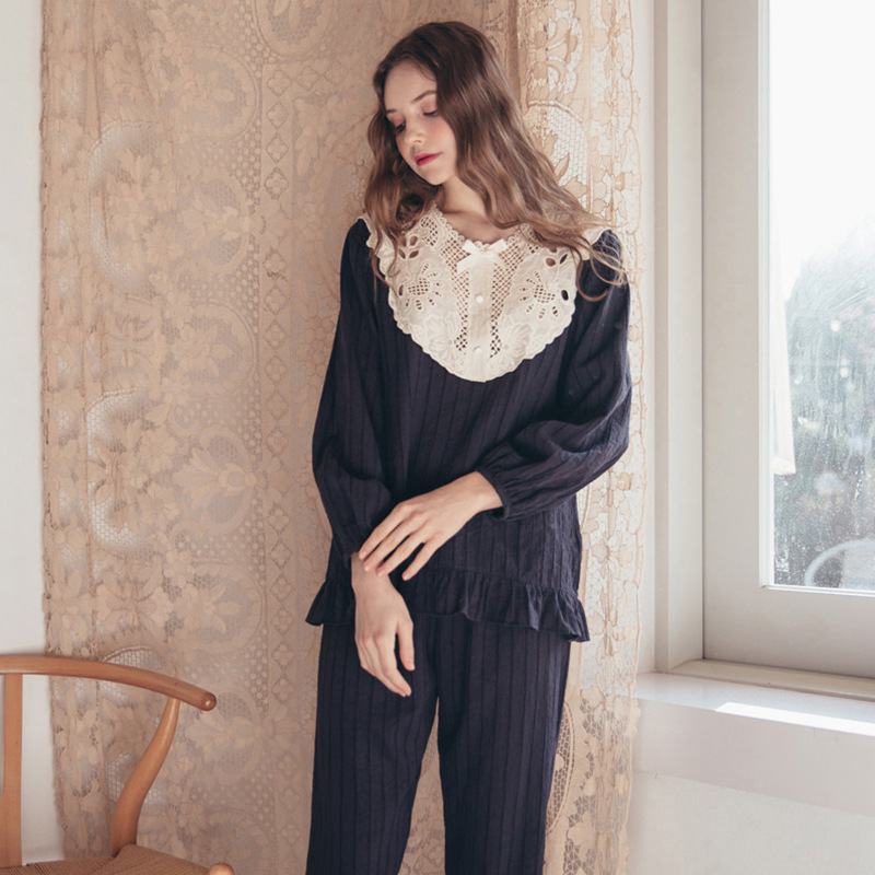 Pajamas Autumn And Winter Female New Style Sweet Literature Art Hollow-Out Lace Sexy Cotton Leisure Suit  Lounge Negligee Pajama