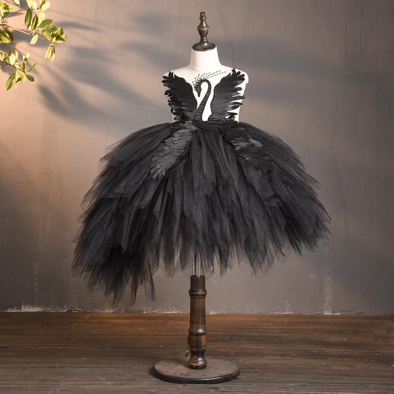 Black Flower Tulle Girl Dress Swan Crystal Tulle Princess Pageant Wedding Clothes Kids Birthday Party Dress Evening Ball Gown
