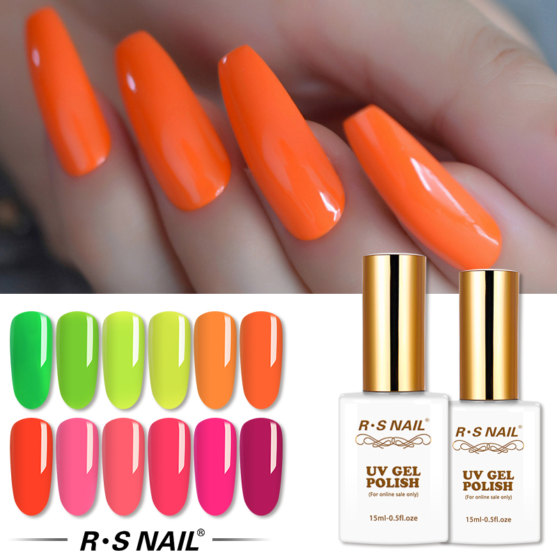 RS NAIL Neon Gel Nail Polish Fluorescent Gel Varnish Professional Nail Art Lakiery Hybrydowe UV Gellak Manicure 15ml