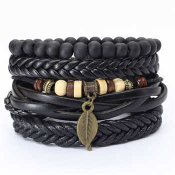 Trust In God Faith Black Guitar Leaf Beads Wristband Leather Bracelets Set Men Bracelets Women Homme Fashion Jewelry Accessories 1