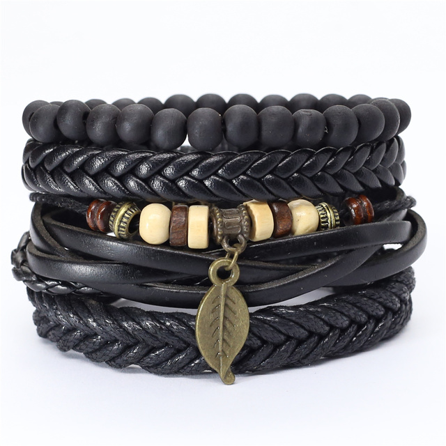 Trust In God Faith Black Guitar Leaf Beads Wristband Leather Bracelets Set Men Bracelets Women Homme Fashion Jewelry Accessories 1