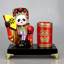 Traditional Chinese Beijing Opera Pen Container Q version Panda figure office decoration gift set furnishing articles home decor