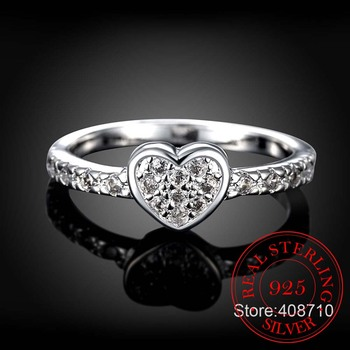 Mother's Day Gift Original Zircon Heart Ring 925 Sterling Silver Fashion Love Heart Rings For Women Wedding Fine Jewelry shipei created moissanite heart ring for women fine jewelry 100% 925 sterling silver love heart ring anniversary valentines gift
