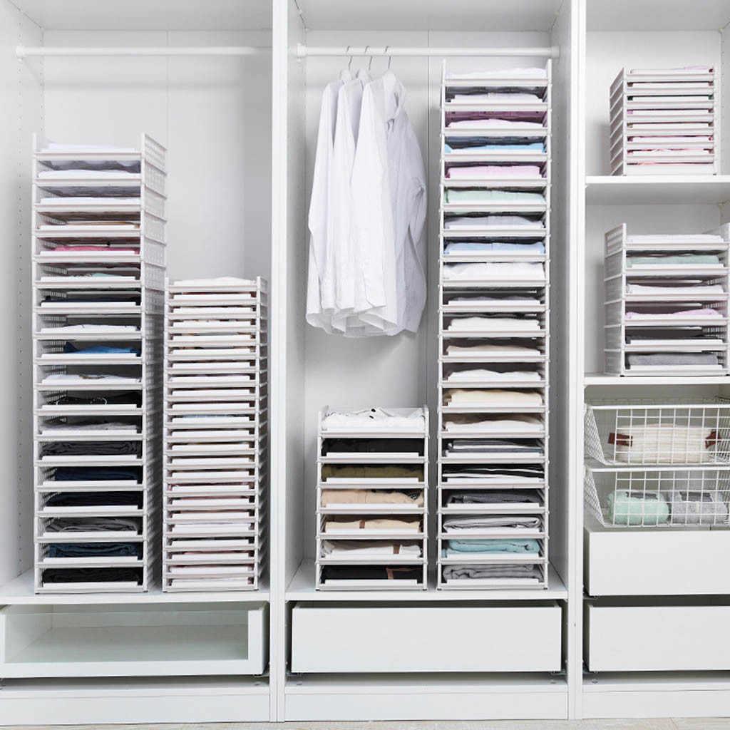 Detachable Wardrobe Organizer Clothes Storage Basket Multi Layer