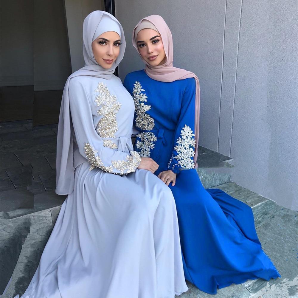 Eid Mubarak Kaftan Abaya Dubai Turkey Muslim Hijab Dress Caftan European Islam Clothing African Dresses For
