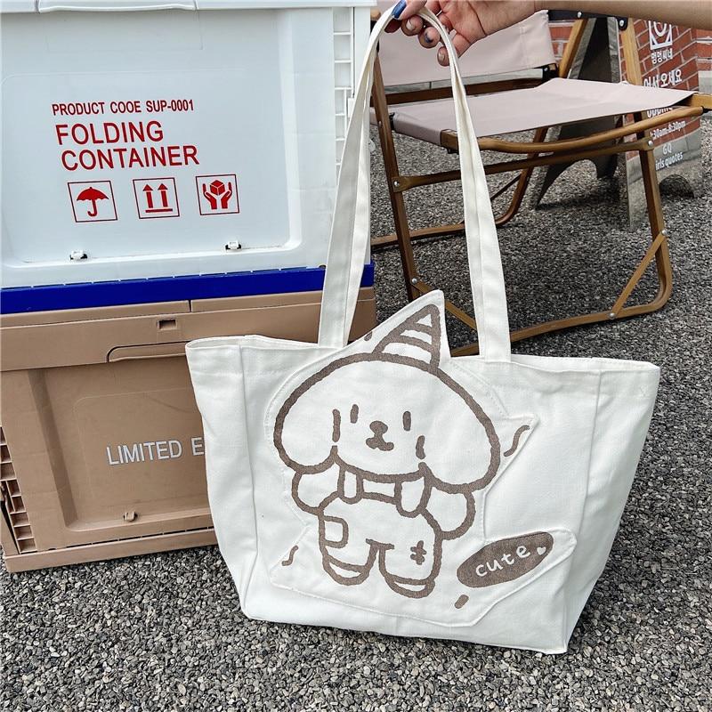 New Style INS Cartoon Women's Bag Student Bag Cute Girl Shopping Bag Shoulder Bag Tutorial Bags School Supplies