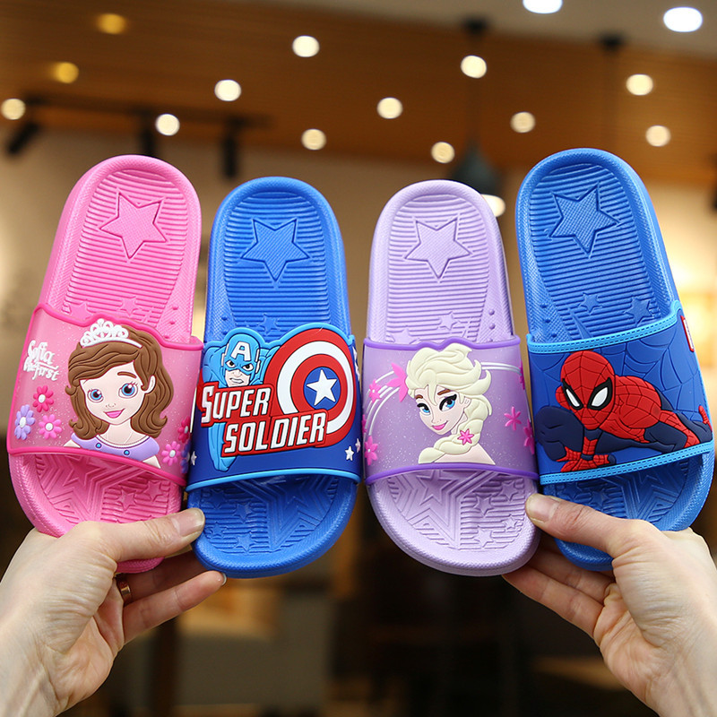 Summer Kids Shoes For Girl Boys Mickey Minnie Princess Elsa 2 Sofia Spiderman Iron Man Beach Shoes Baby Toddler Indoor Slippers
