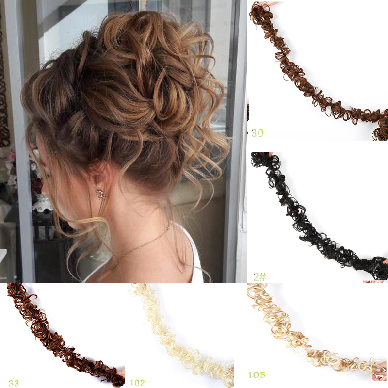 Fashion Synthetic Women Curly Bun Chignon Elastic Band Clip In Hair Extensions Black Brown High Temperature Fiber Fake Hairpiece